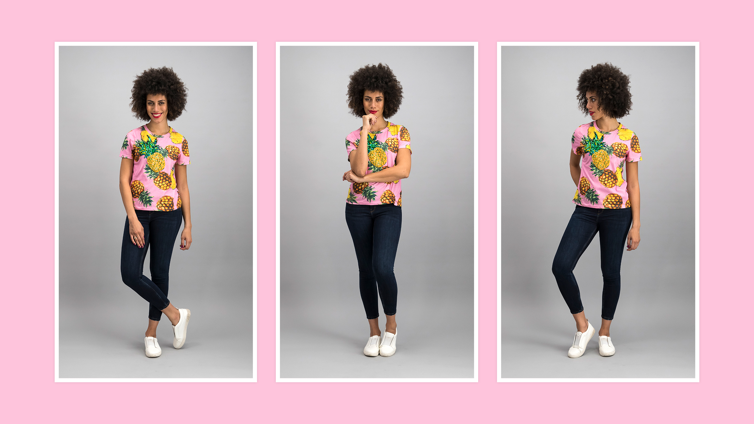 The T-shirt you're showcasing should be complemented by casual,comfortable clothing and footwear.