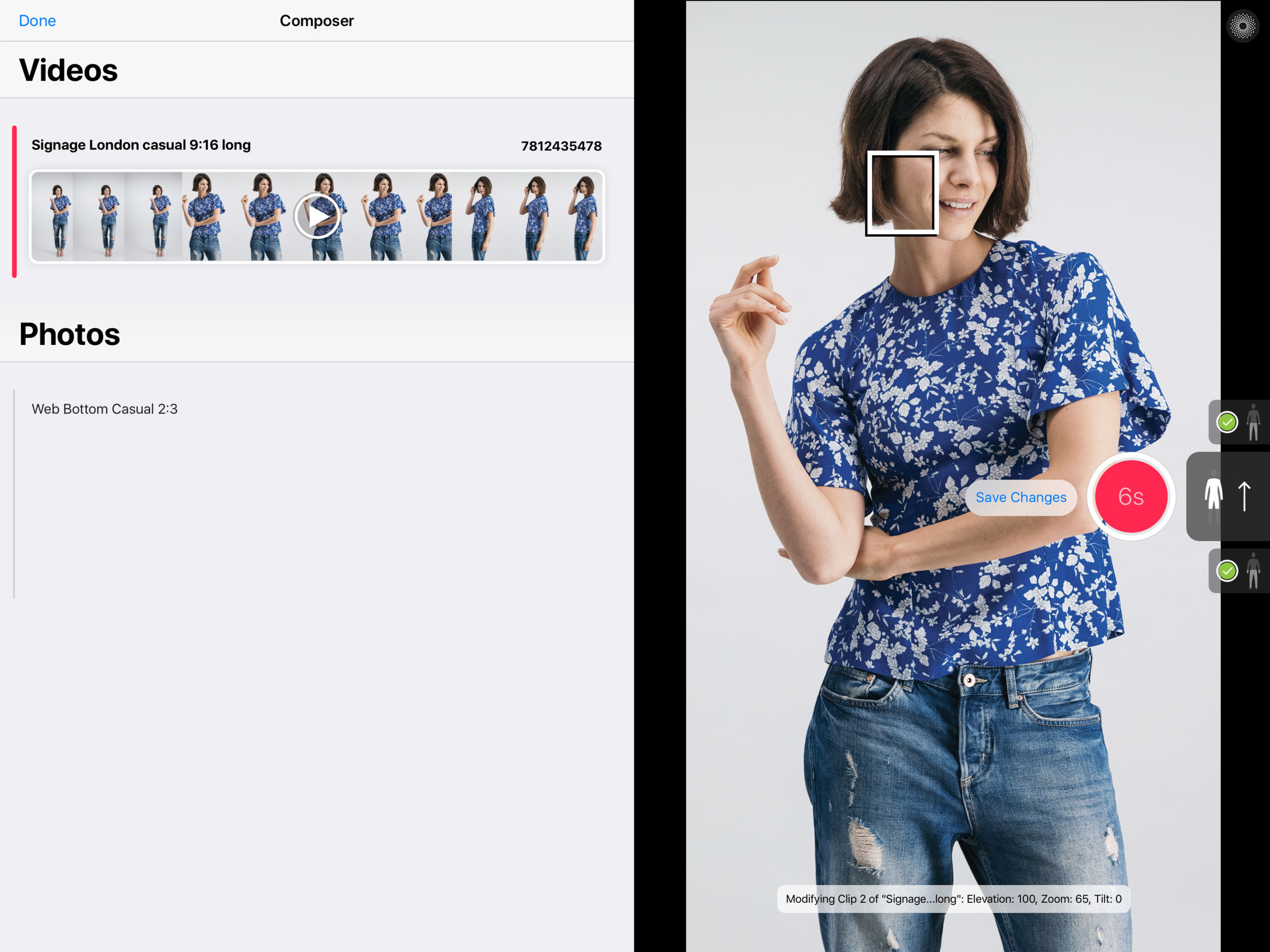 You can edit the camera position for each video clip and photo framing on the fly, and save your changes for the next time.