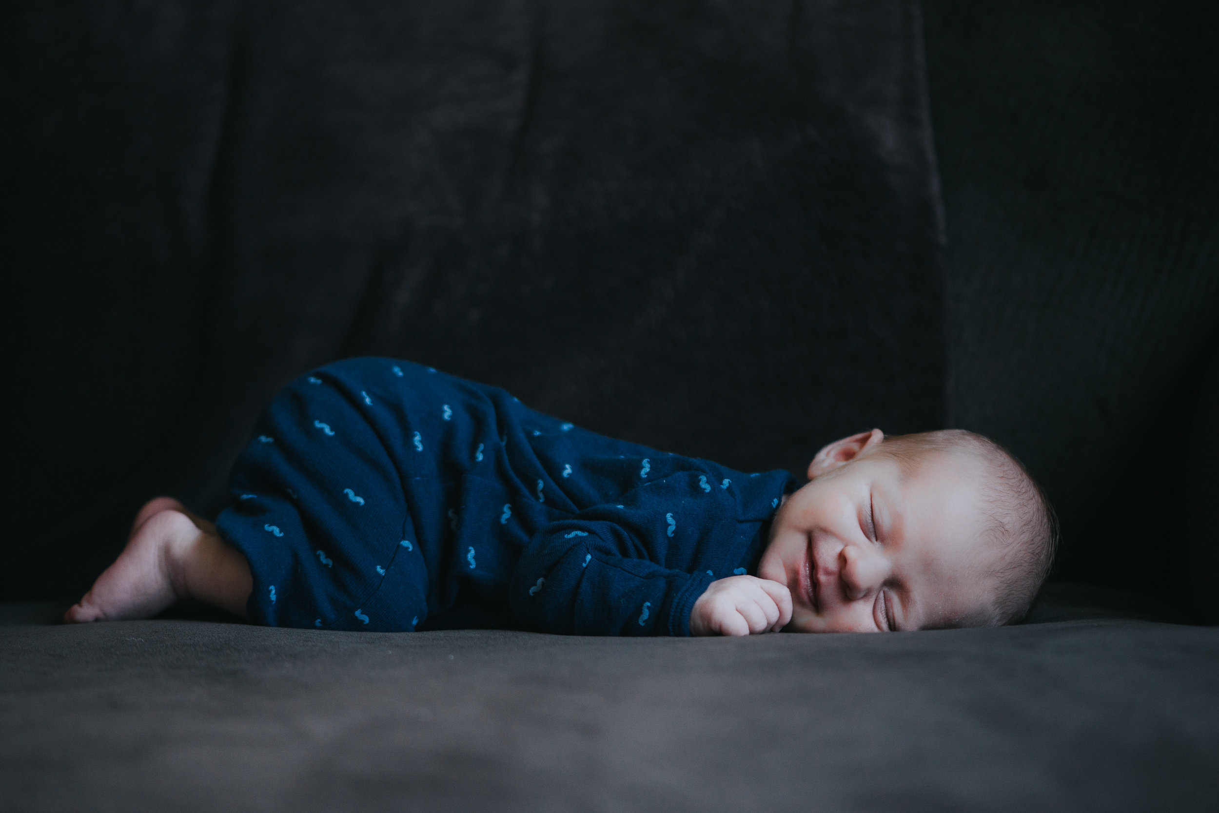 Idena Beach Photography | Vermont Newborn Photographer | Baby K smiling in his sleep- What are you dreaming of?!?
