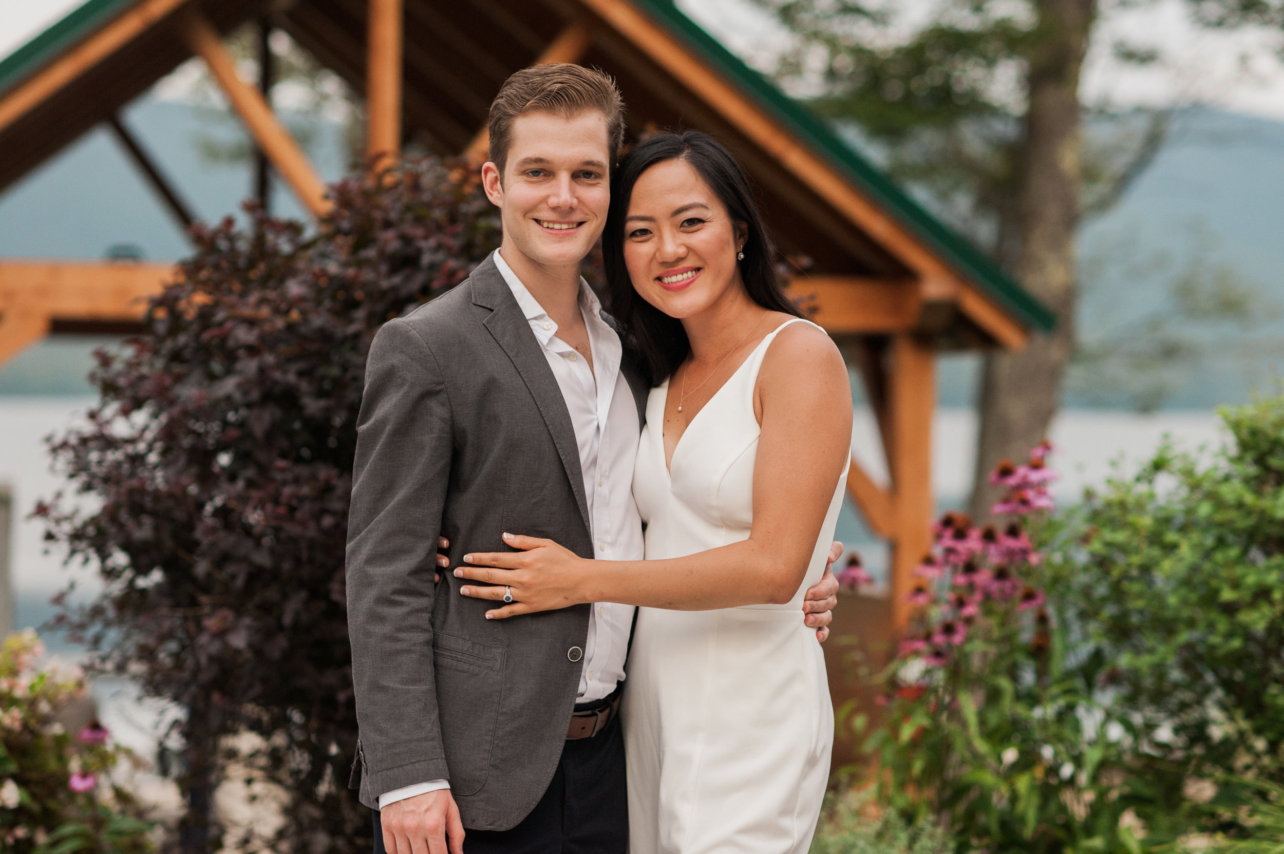 Bride and Groom at the rehearsal dinner at the Pond Pavilion at mountain Top Inn and Resort photographed by Idena Beach, Vermont wedding photographer