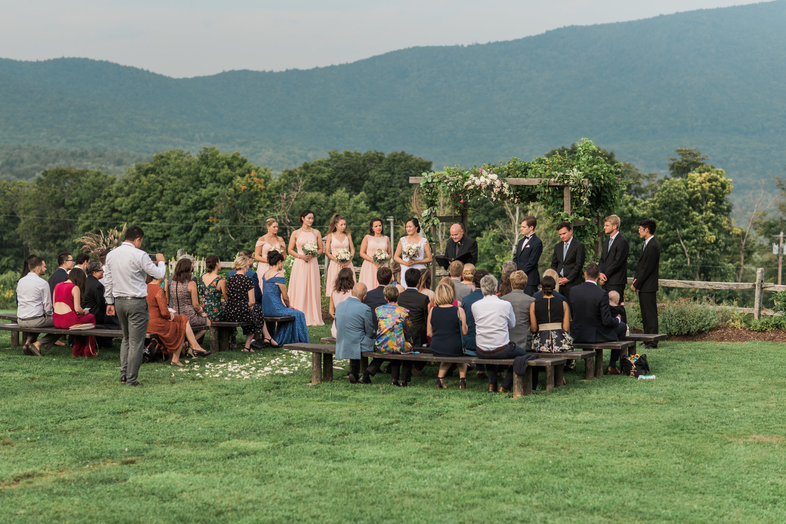 Ceremony on The Knoll during a August Wedding at Mountain Top Inn