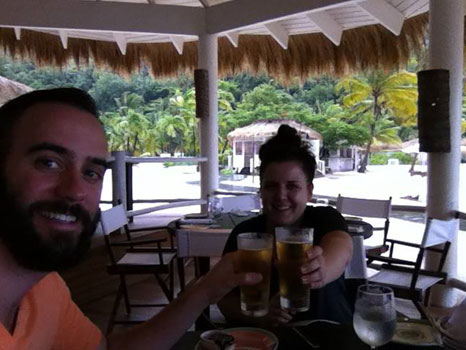 Ross and Shannon. Rubbing it in from their Saint Lucia business trip. Keep it up guys...you might just find your desks toilet-papered upon your return.