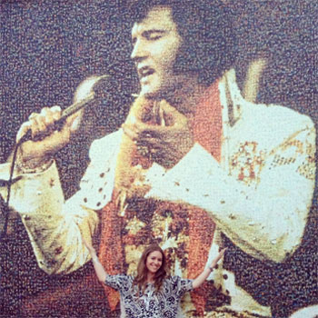 While at the SATW/PRSA Conference in Memphis, Gina poses in front of an extraordinary mural of Elvis at Graceland...made from a collage of fan photos. (Believe it or not!)