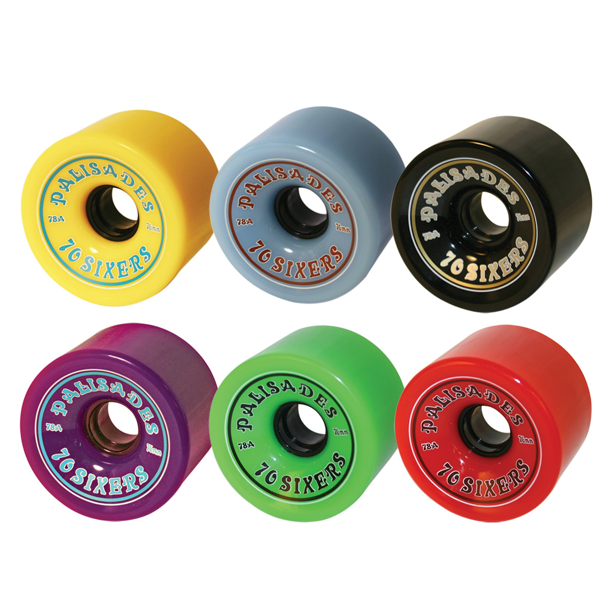 70 Sixers - 76mm Wheels  78A w/hub. Yellow, Blue, Black, Purple, Green, Red