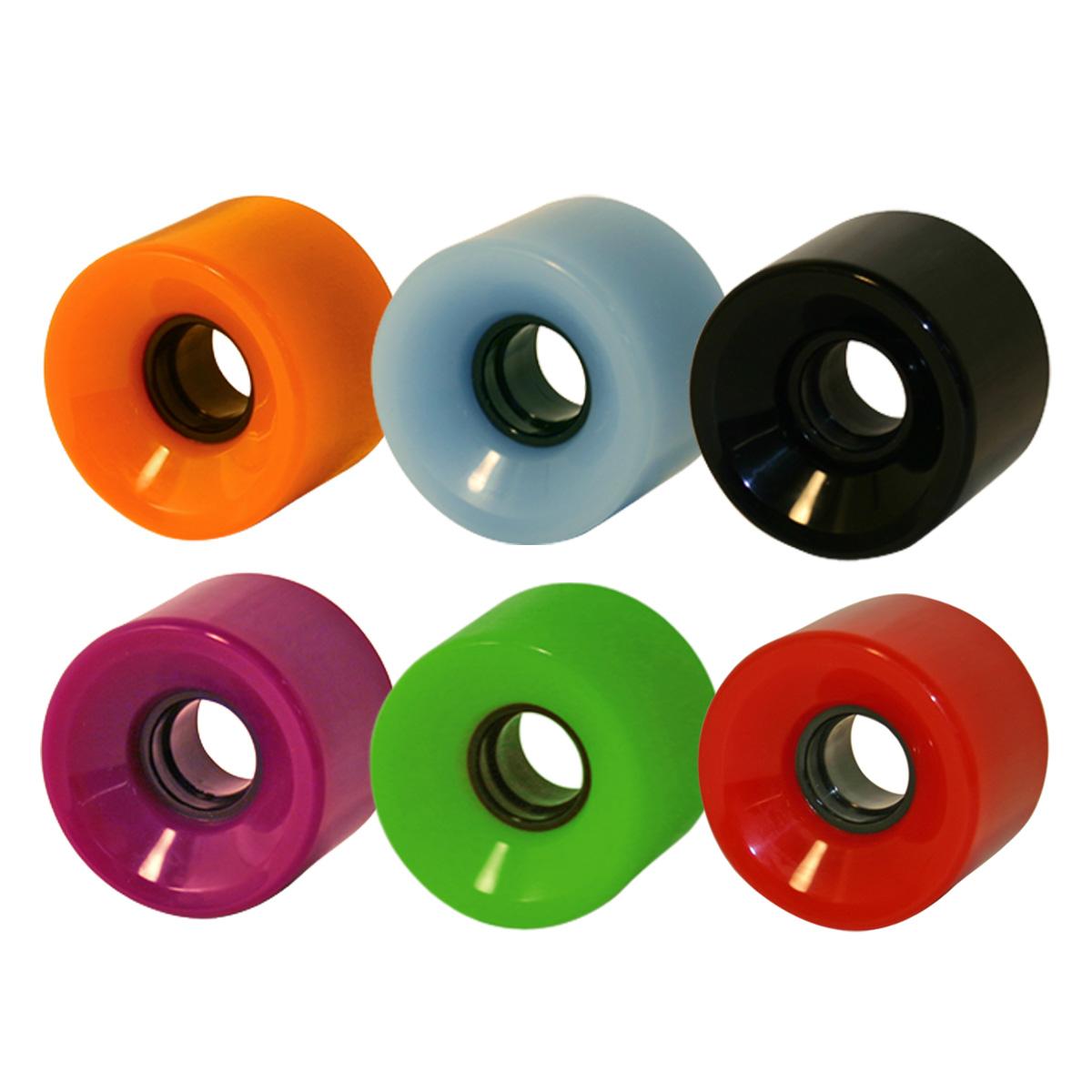 Cruiser Blank Wheels - 60mm, 65mm, 70mm, 76mm  78A w/hub. Orange, Blue, Black, Purple, Green, Red