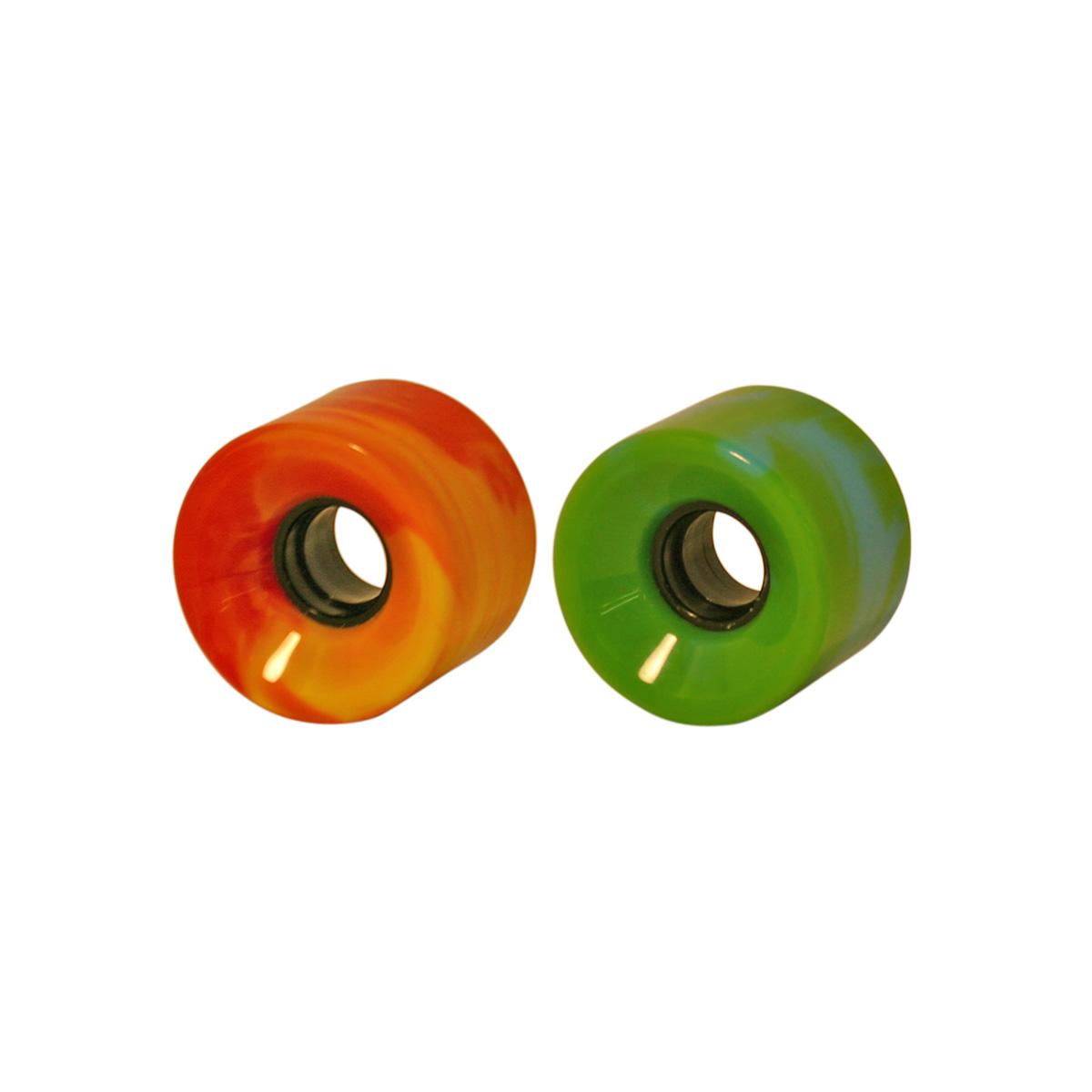 Swirl Blank Wheels - 60mm, 70mm, 76mm  78A w/hub. Orange/Yellow, Green/Blue