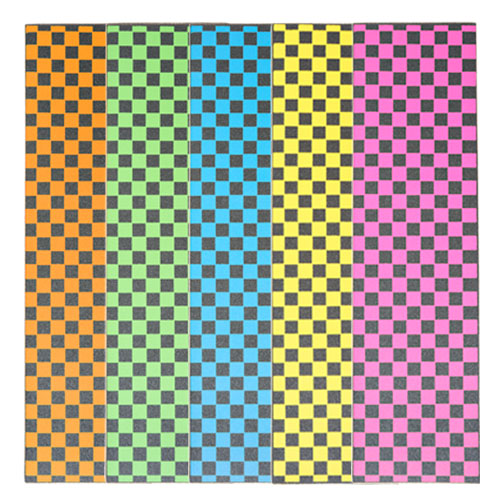 """Colored Checkered Grip Tape Sheets  9"""" x 33"""" - Orange, Green, Blue, Yellow & Pink"""