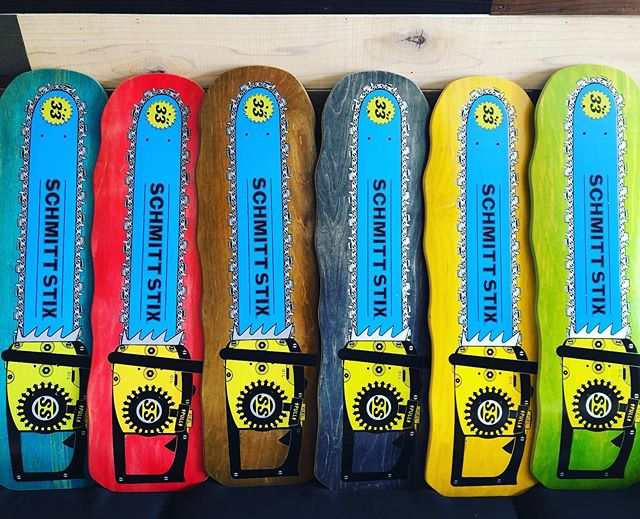 Fresh off the press- Schmitt Stix chainsaws-hand screened #skateboardingisfun #chainsaw #oldschool #handscreenprinted