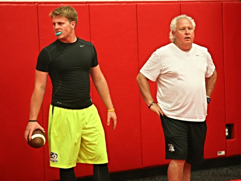 Augie DeBiase with QB Coach Joe Dickinson