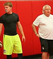 2016 QB Augie DeBiase with QB Coach Joe Dickinson