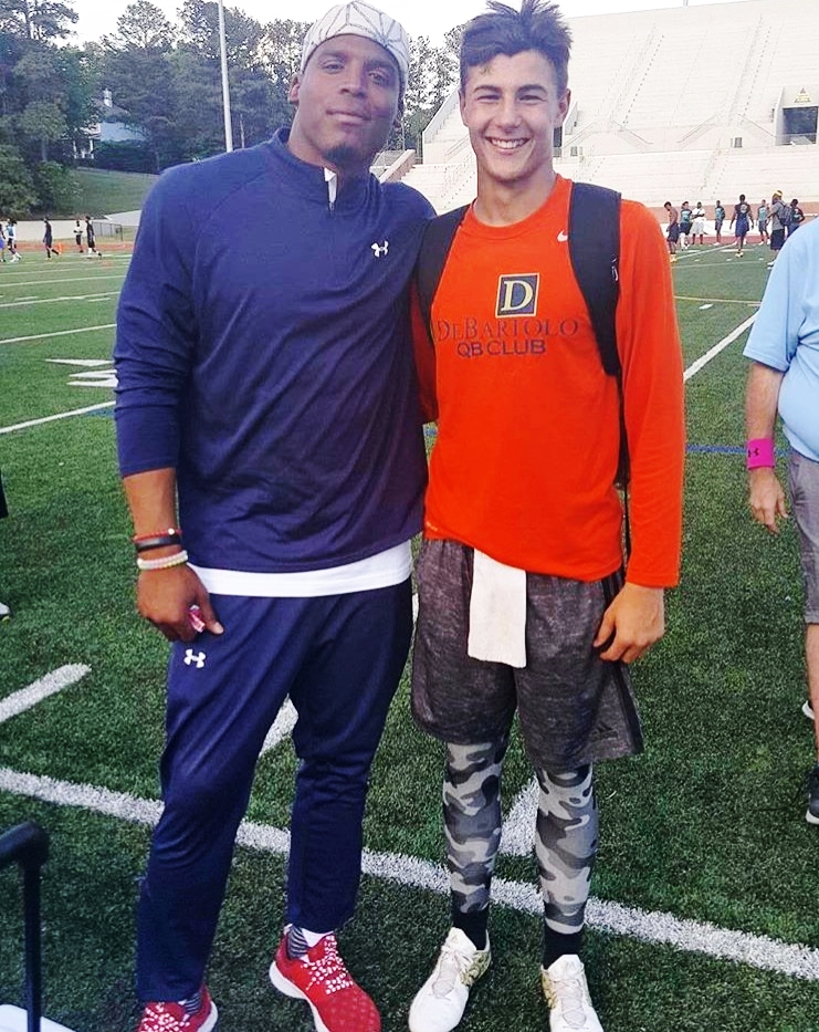 2018 Top QB Prospect Josiah Johnson (The Bolles School - Jacksonville, FL) with NFL QB Cam Newton.