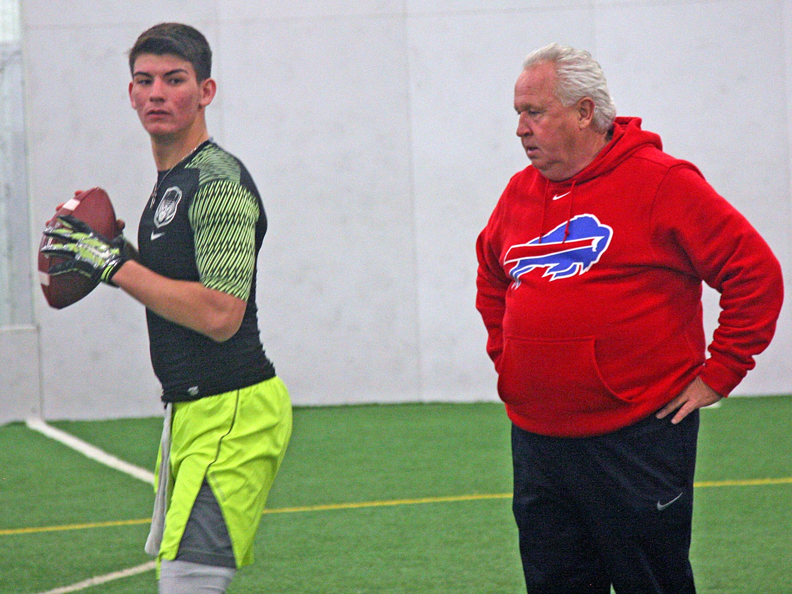 2017 QB Brandon George with Buffalo Bills QB Consultant Joe Dickinson