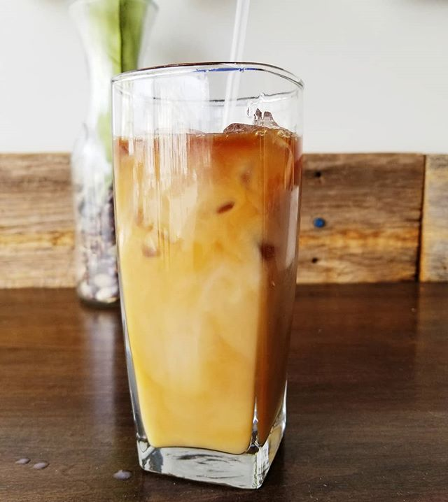 Iced Lattes are a great way to start your day! We also offer a variety of nondairy milks such as almond, soy, and oat milk!