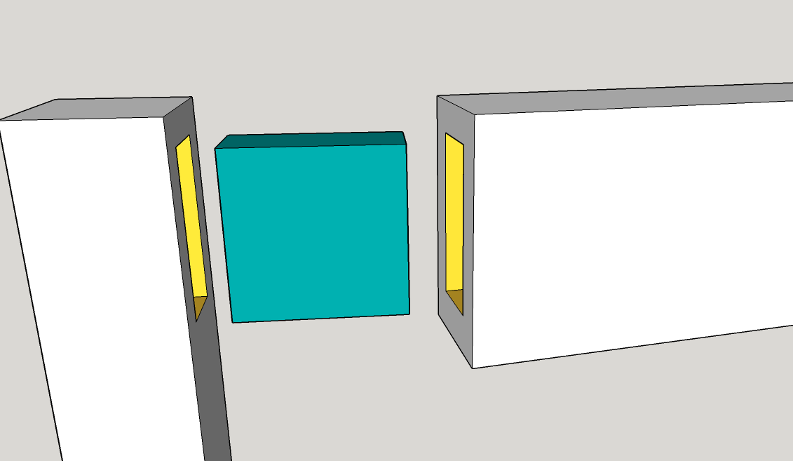 Floating Tenon in Blue, Mortises in Yellow