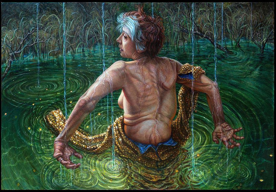"Riva Lehrer, ""66 Degrees,"" 2016. Acrylic on wood panel, 24 x 36 inches"