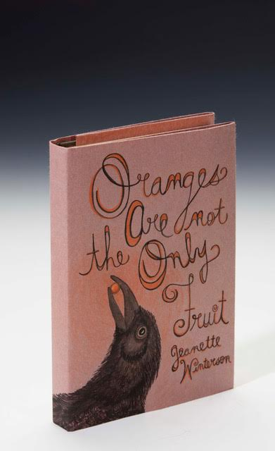 """Niffenegger, Audrey  THE """"FIRST EDITIONS: RE-COVERED"""" COPY OF:   Winterson, Jeanette. Oranges Are Not the Only Fruit.Guild Publishing, 1990, 8vo, first edition in hardback, original black boards lettered in gilt  WITH AN ORIGINAL DUST-JACKET BY AUDREY NIFFENEGGER, 206 by 520mm., ink and coloured pencil, signed and dated """"A Niffenegger 2017"""" with note by the artist"""