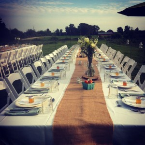 Guests were treated to a tablescape featuring local honey, sweet cherry tomatoes and mason jars for water glasses.