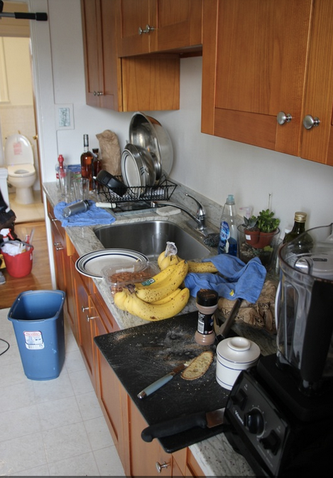 Before:  Cluttered counters make both prep and cleaning a struggle.