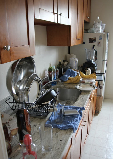 Before: Cluttered counters...