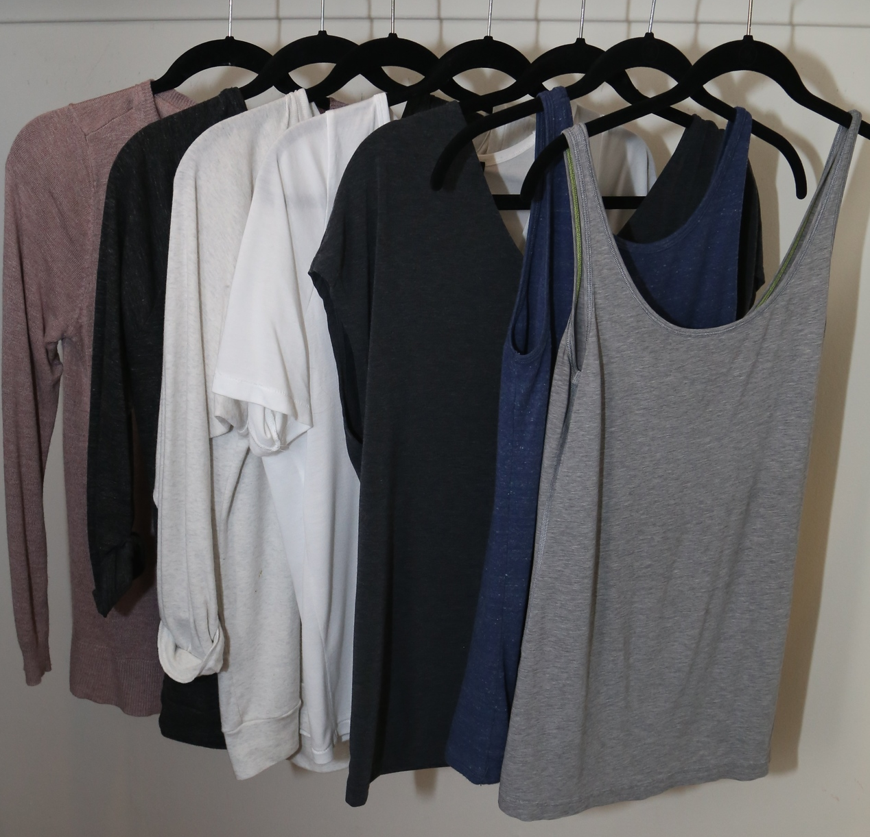 Layering pieces: lightweight sweaters, 3/4 sleeves, tees and tanks.