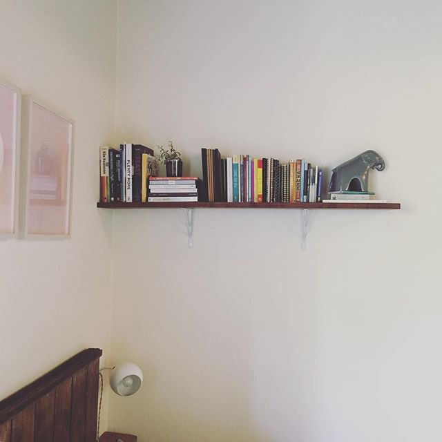 "New & improved walnut shelf up and running! Enough clearance for someone 5'5"" 😬 but hey, it works for me! The walnut plank that I sanded and sealed was purchased from Macbeth Lumber in Emeryville. For brackets I couldn't find simple ones that I liked so I went the opposite direction with 〰️ vibes. Used wall anchors with the screws since there were no studs. It's super sturdy and simple. I'm into it!"
