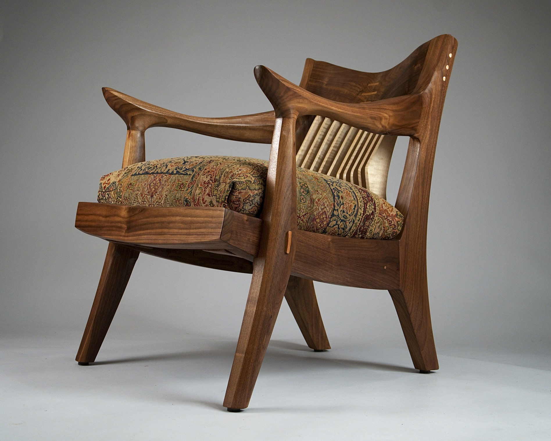 Tangier Chair in black walnut with maple spindles
