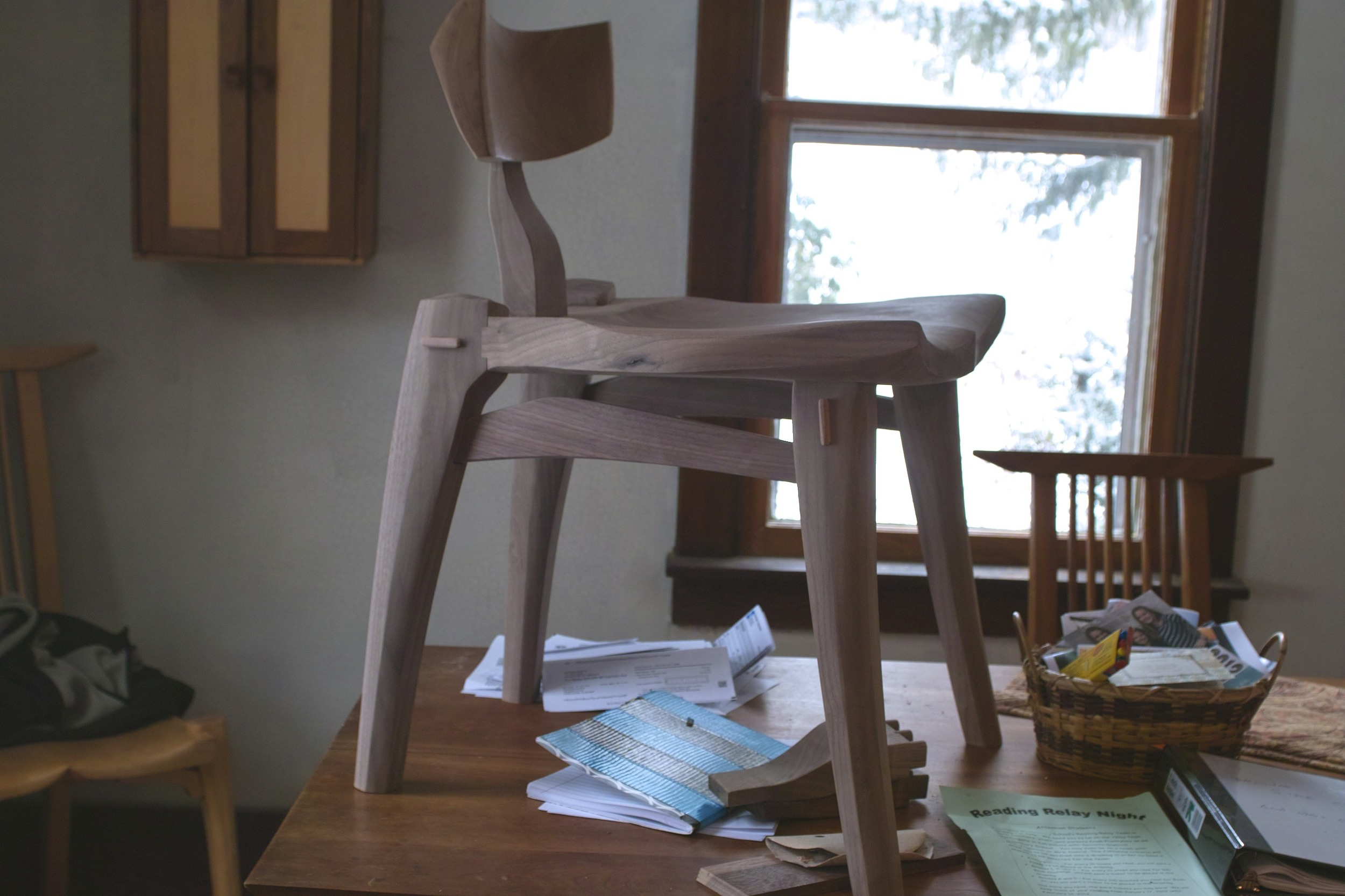 unfinished chair, work in progress