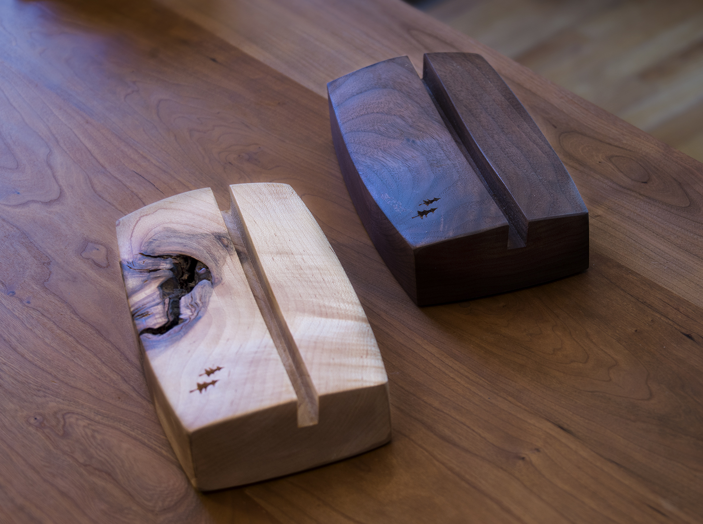 Figured maple and walnut holders