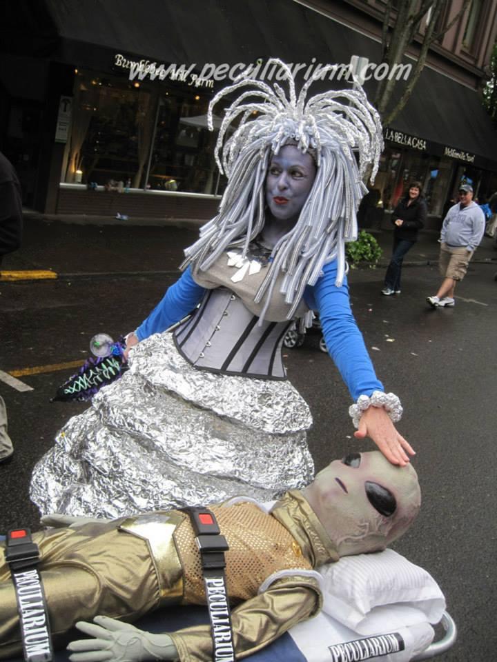 Angleberk makes friends at the UFO festival in McMinnville, Oregon.