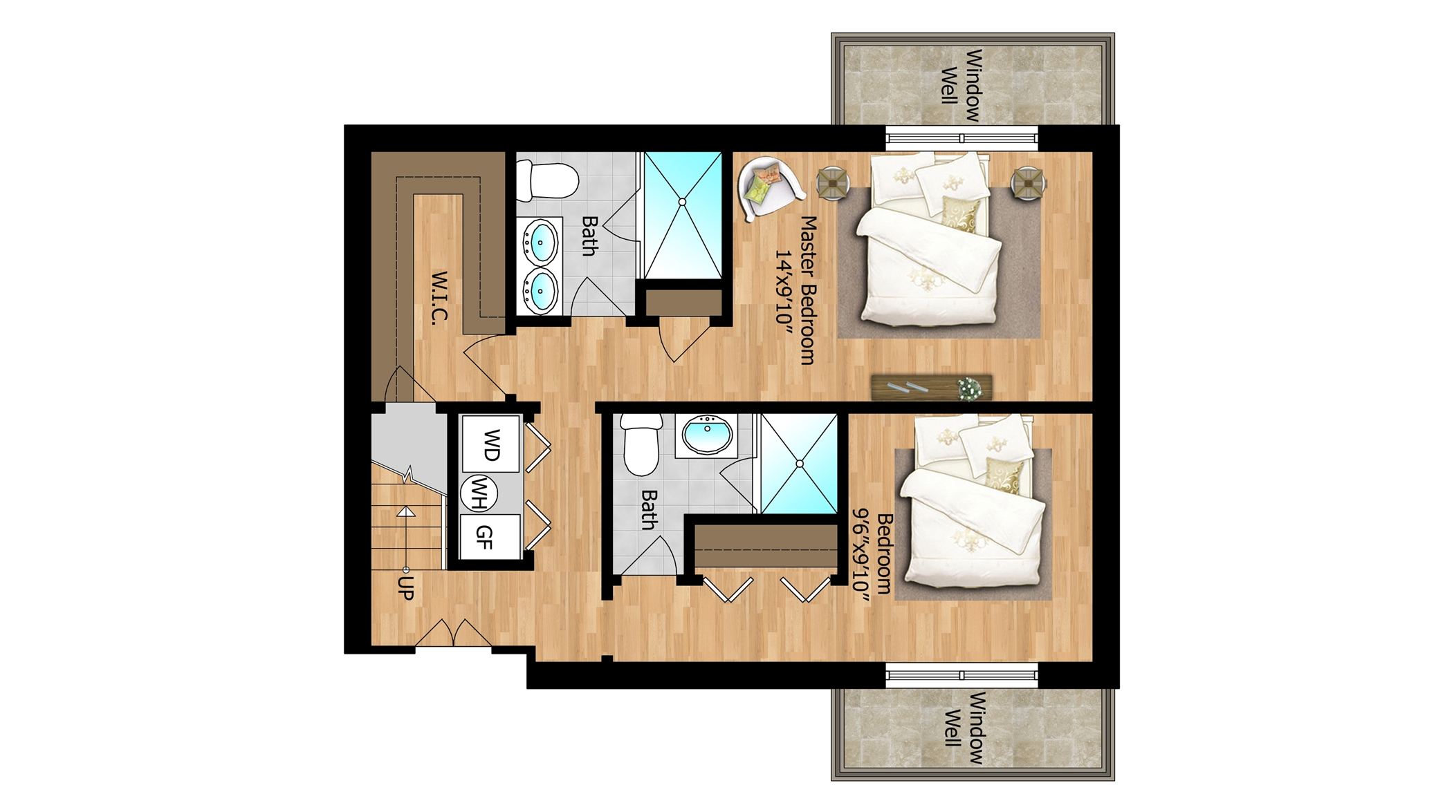 Lower Level - Unit 1 Bedrooms