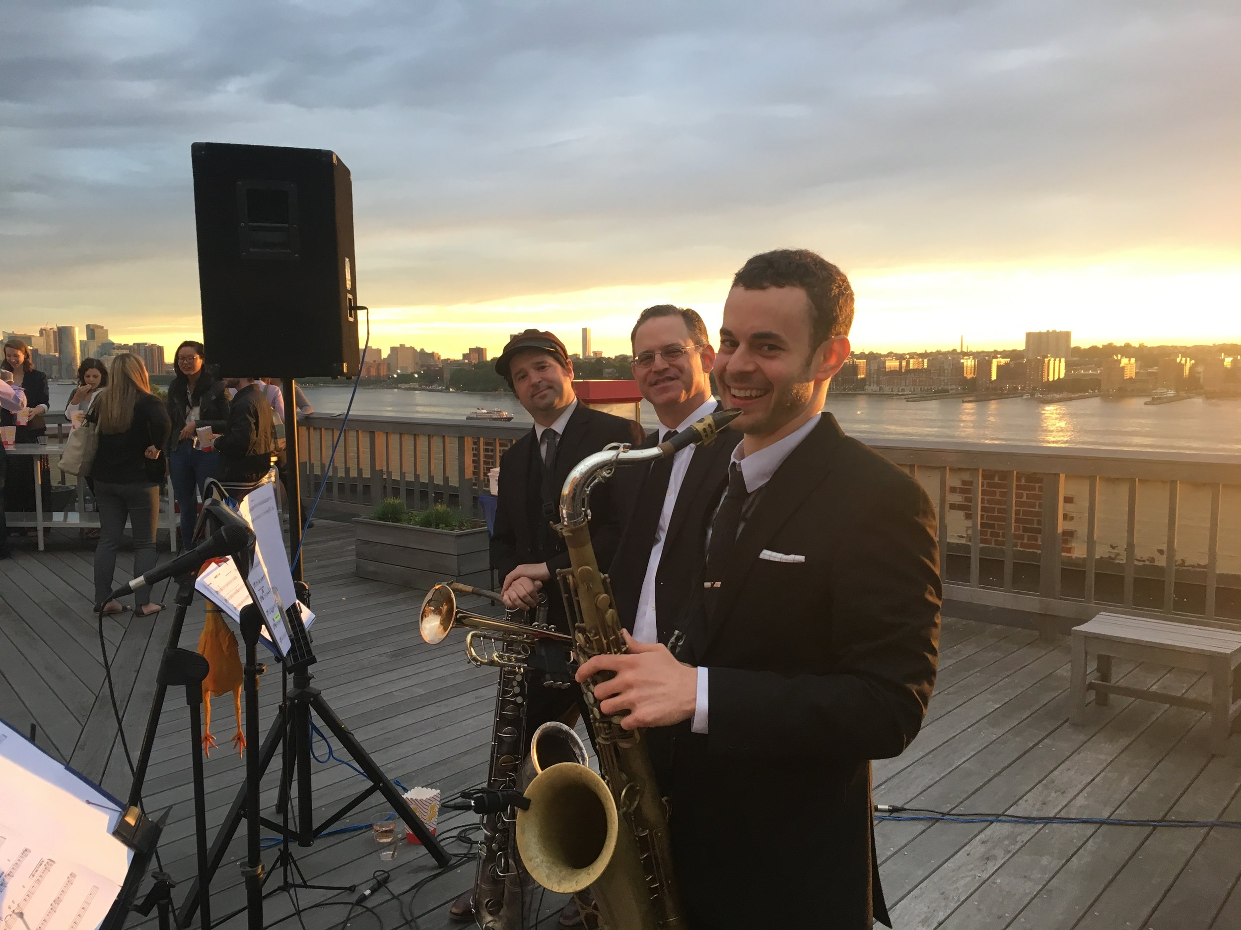 Rooftop private event band Peter and the Master Keys at the Starrett Le-High building in Chelsea, Manhattan