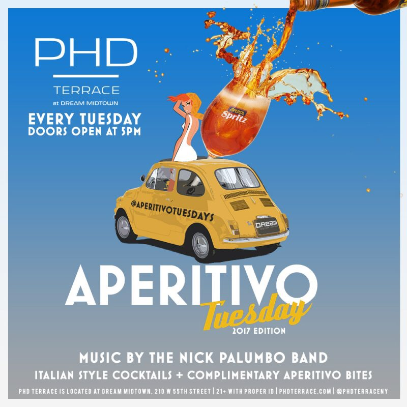 Nick Palumbo and the Flipped Fedoras featuring Peter Maness perform Tuesdays at PHD Terrace at the Dream Hotel in Midtown Manhattan.