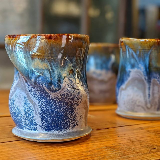 I have a feeling these will be popular... . . .  #tumblertuesday #blue #tumbler #coffee #purple #gold #MakersGottaMake #Tableware #Studio #WheelThrown #Functional #Altered #Clay #Pottery #StudioaArt #HandMade #Life #Pottery #NYC #Art #ShopSmall #Stoneware #Interior #PhotoOfTheDay #InteriorDesign #Light #NotMyPresident #PapePottery
