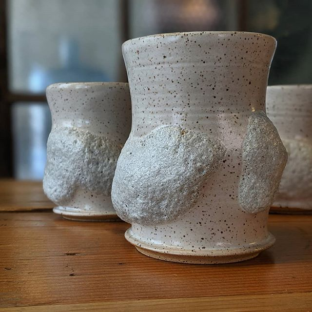 I decided to call these, all by myself with no help, the iceberg tumblers. . . .  #tumblertuesday #tumbler #ice #iceberg #texture #MugShotMonday #MakersGottaMake #Tableware #Studio #WheelThrown #Functional #Altered #Clay #Pottery #StudioaArt #HandMade #Life #Pottery #NYC #Art #ShopSmall #Stoneware #Interior #PhotoOfTheDay #InteriorDesign #Light #NotMyPresident #PapePottery
