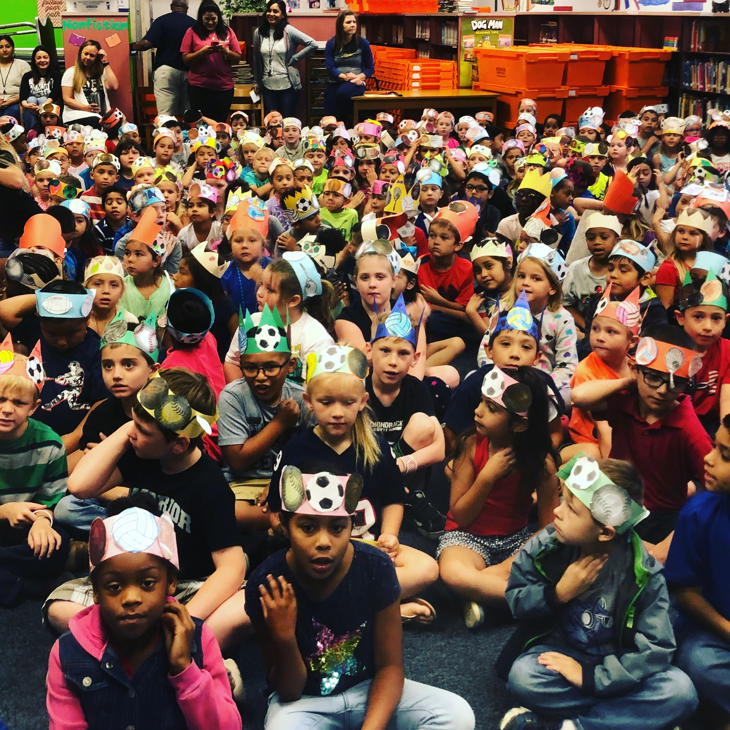 Students in San Antonio, TX with their homemade crowns waiting for Author Shelly Boyum-Breen to speak!