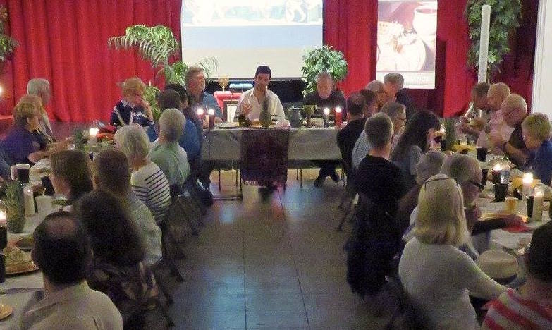 savor event at spiritual center, 80 guests