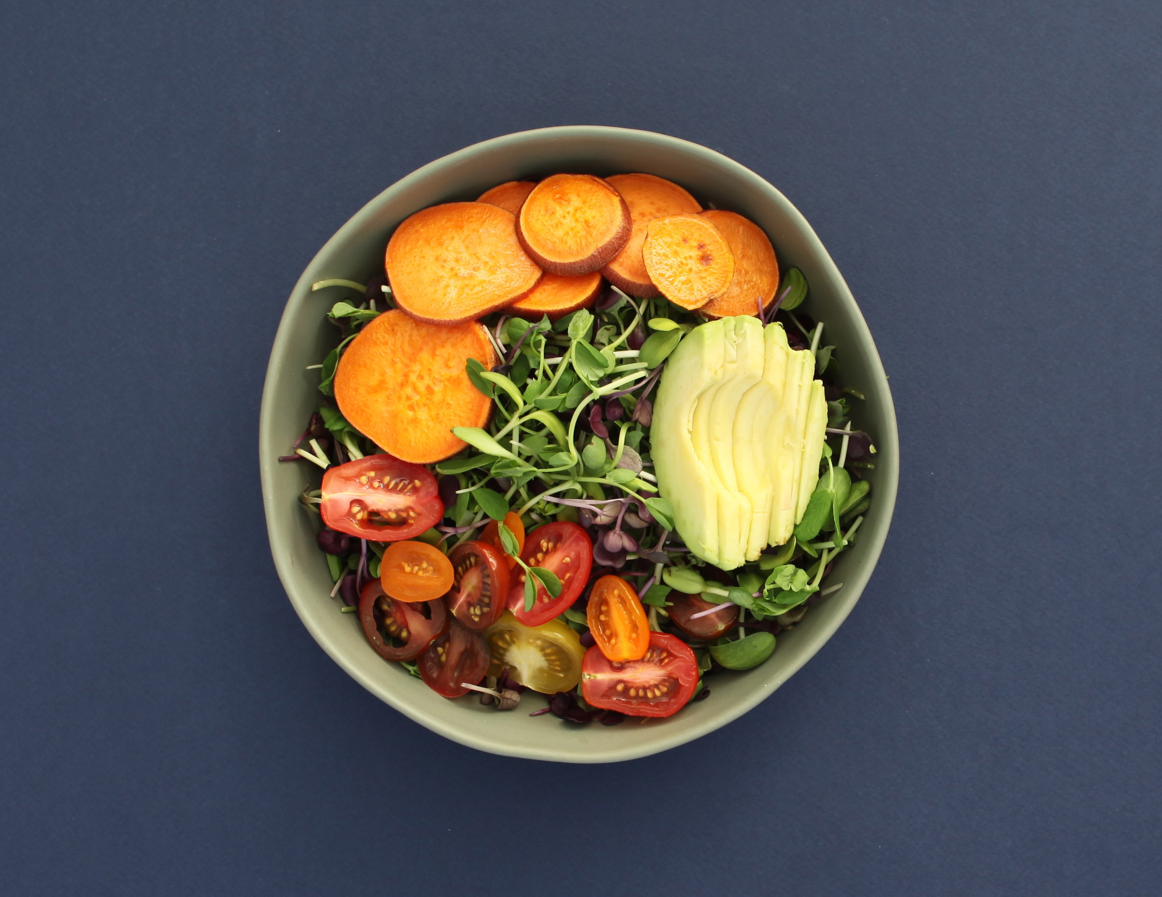 Micro Salad with sweet potato avocado and tomato.JPG