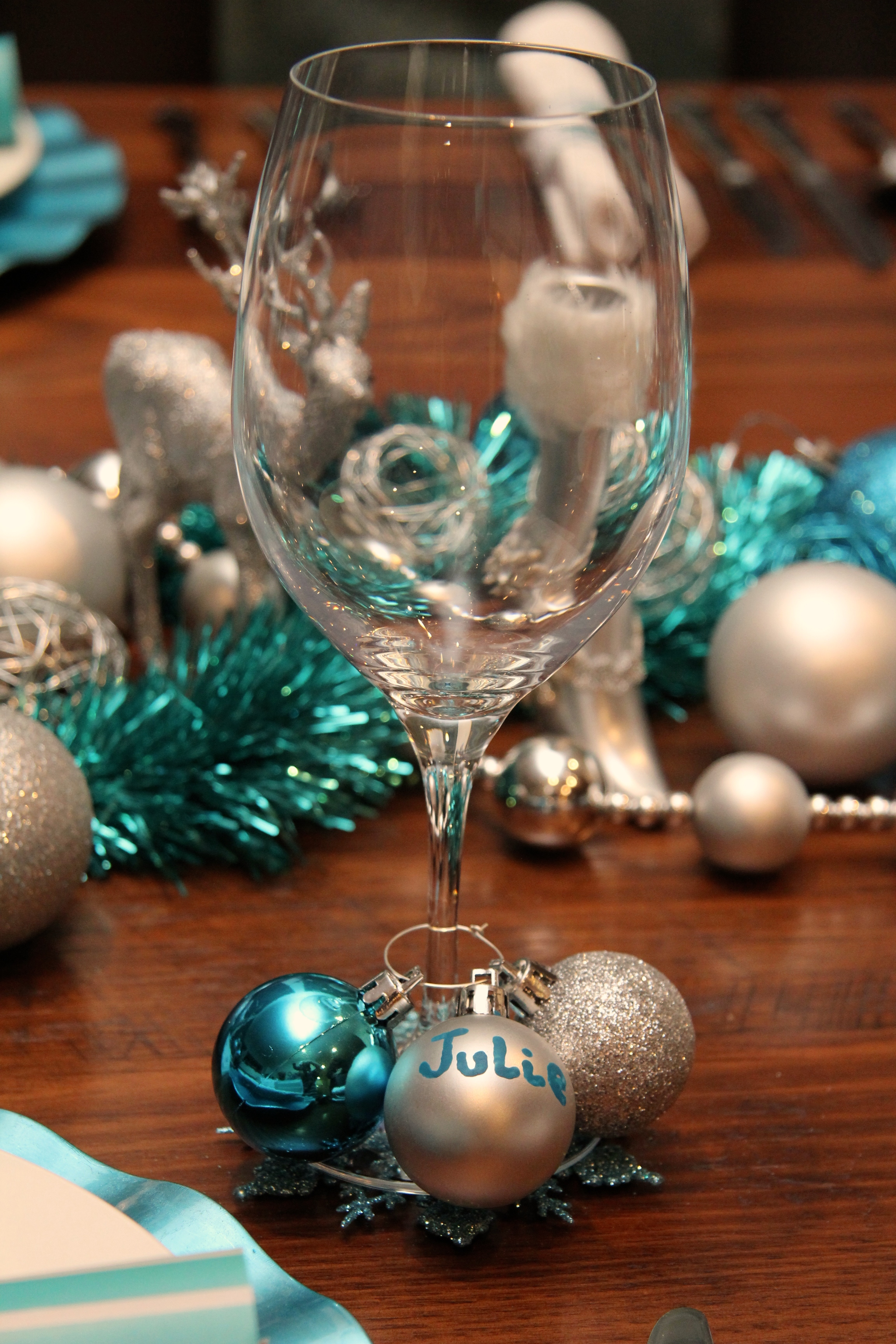 Christmas Wine Glass with personalised bauble.