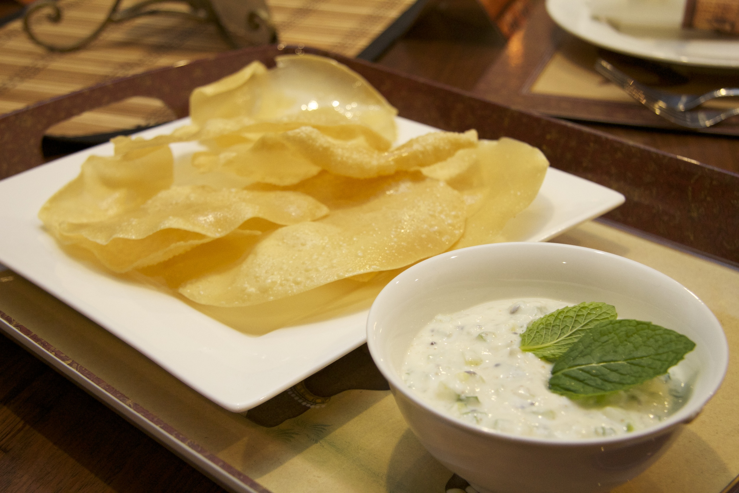 Cucumber and Mint Raita with pappadums