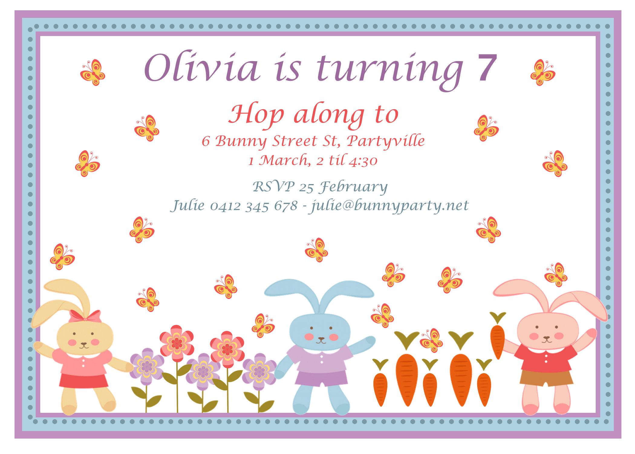 Bunny Party Invitation