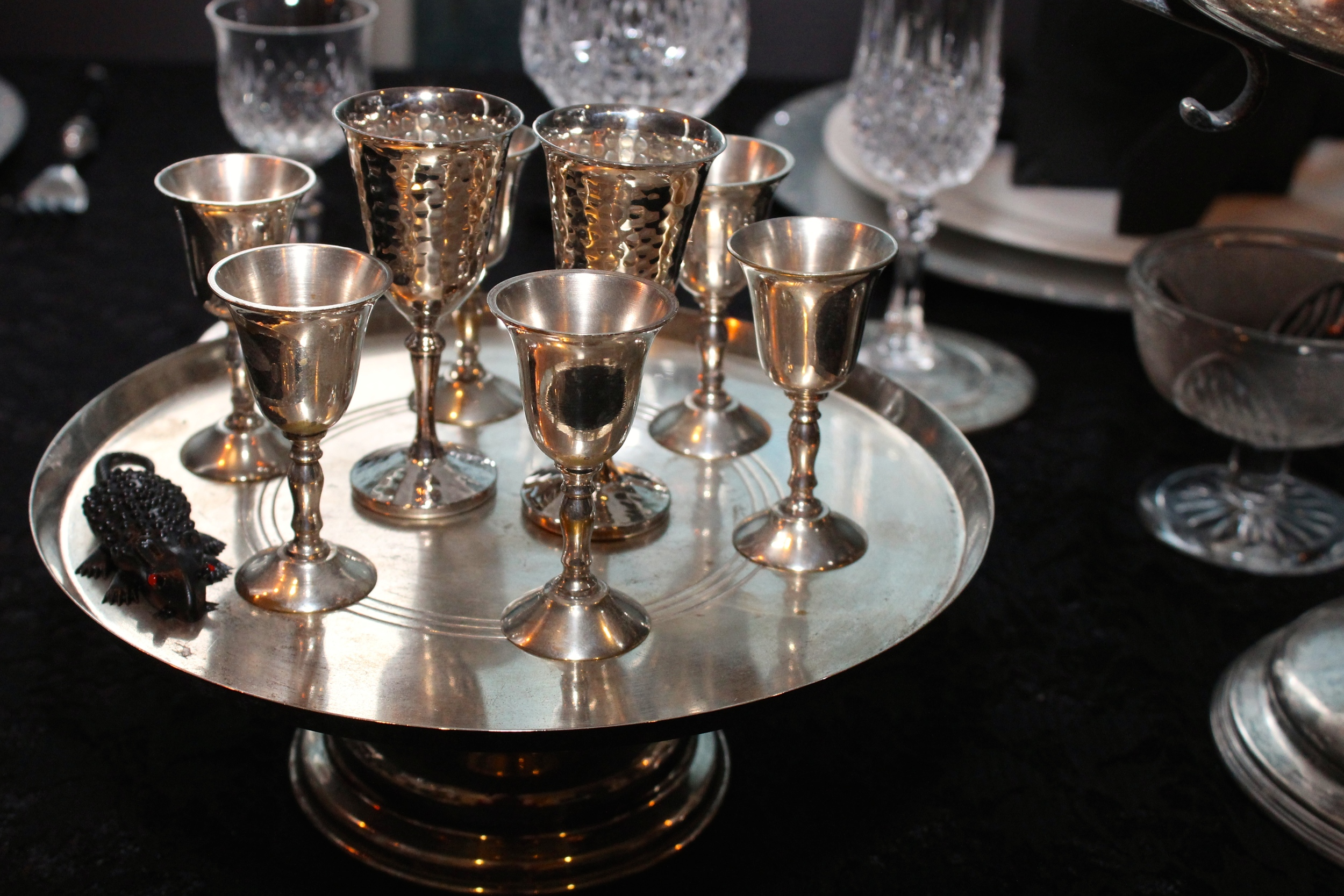 Gothic Party - Silver Sherry goblets