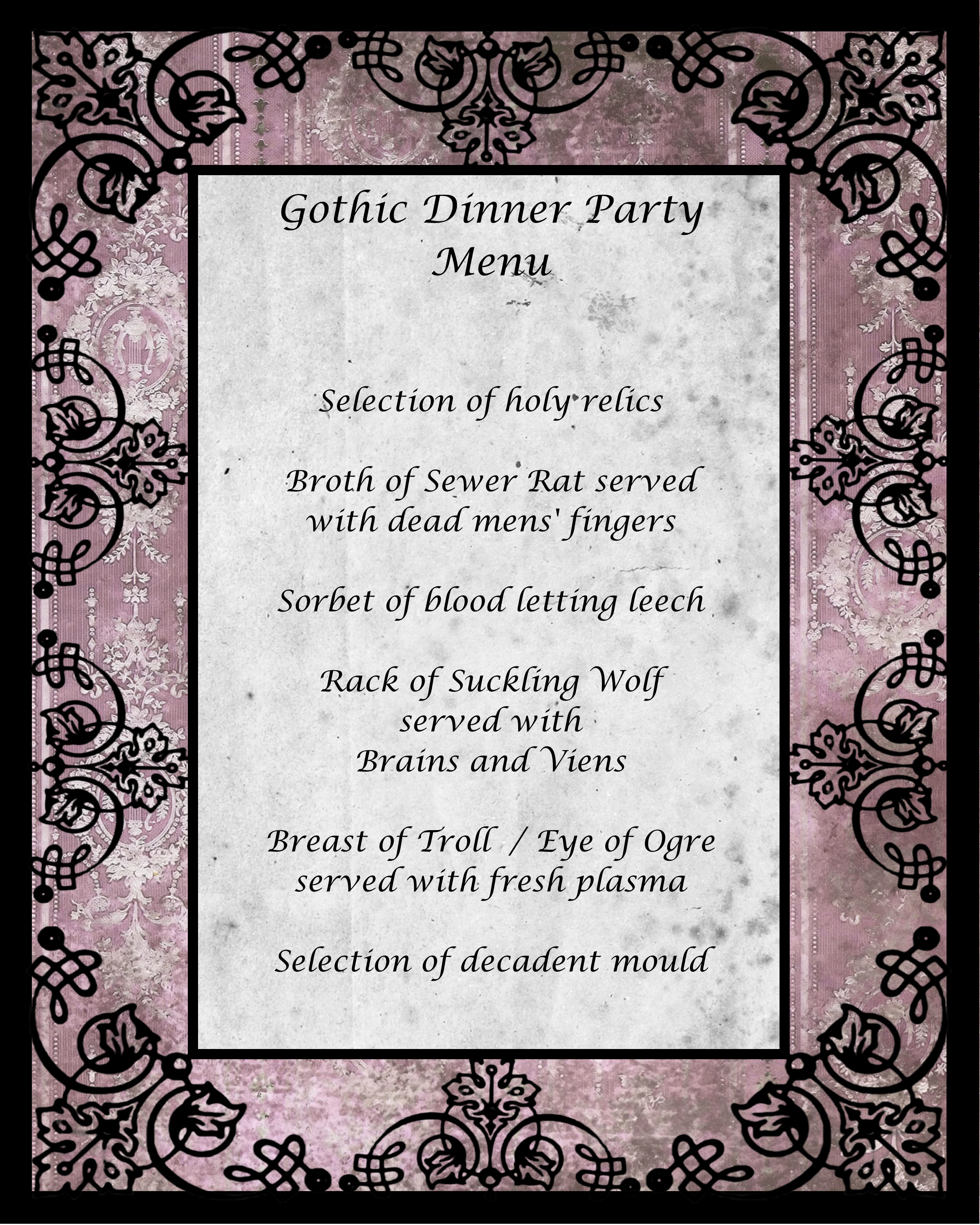 Gothic Dinner Party Menu