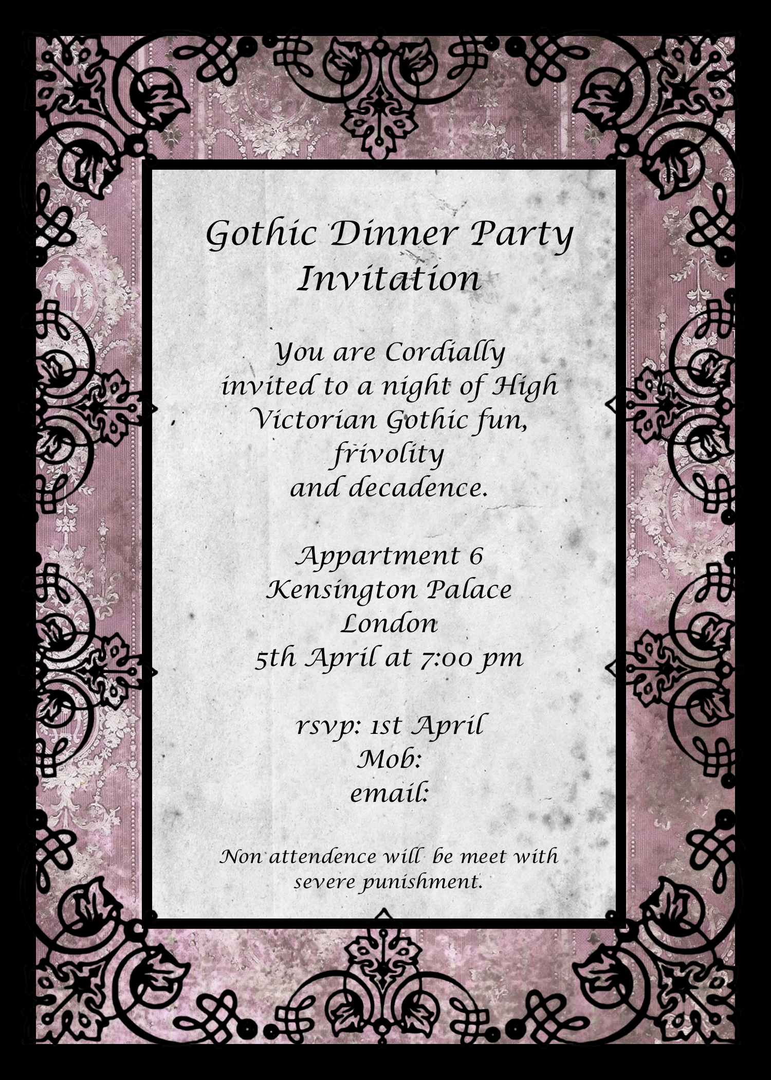 Gothic Dinner Party - Invitation