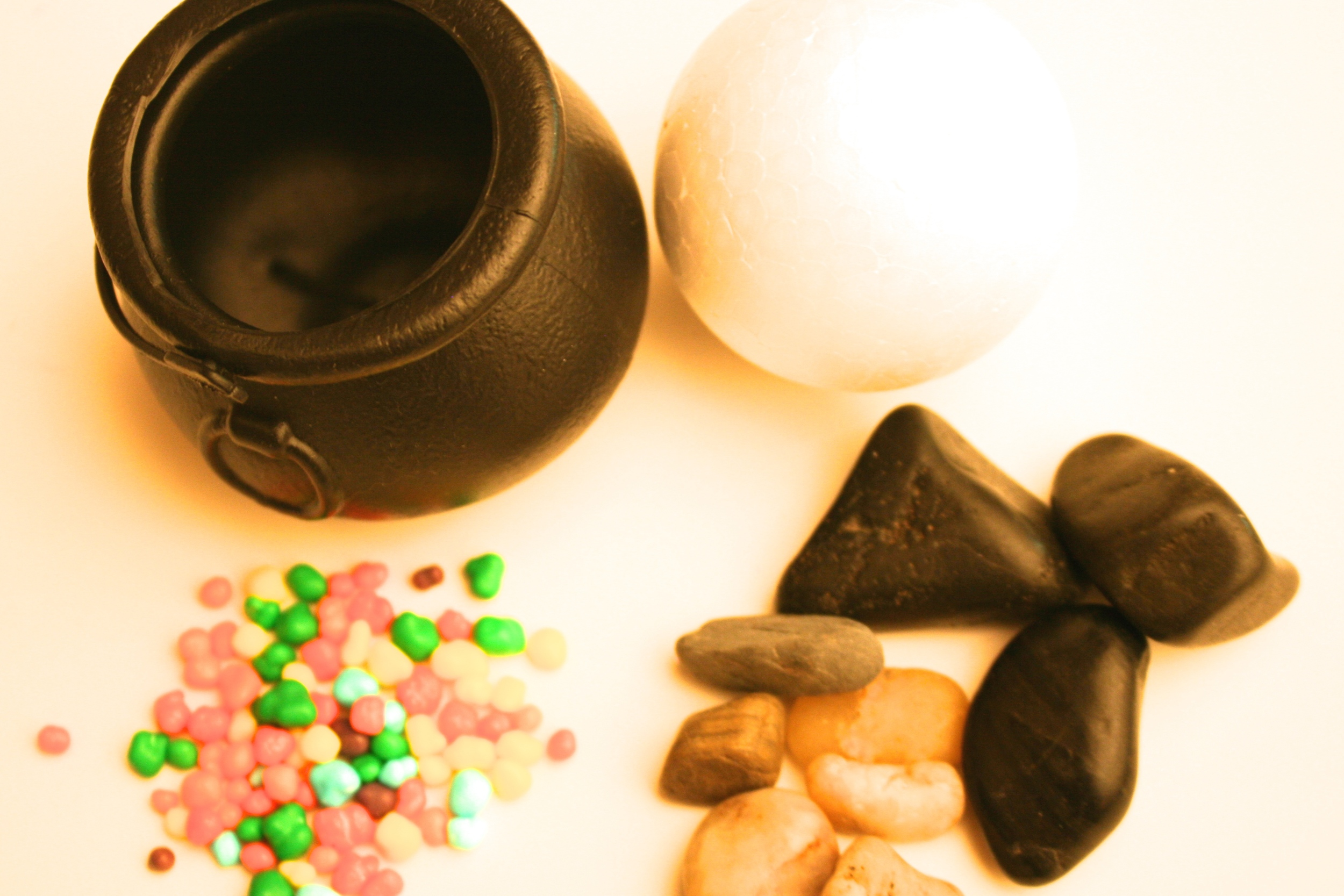 Materials to create a Cauldron cake pop stand