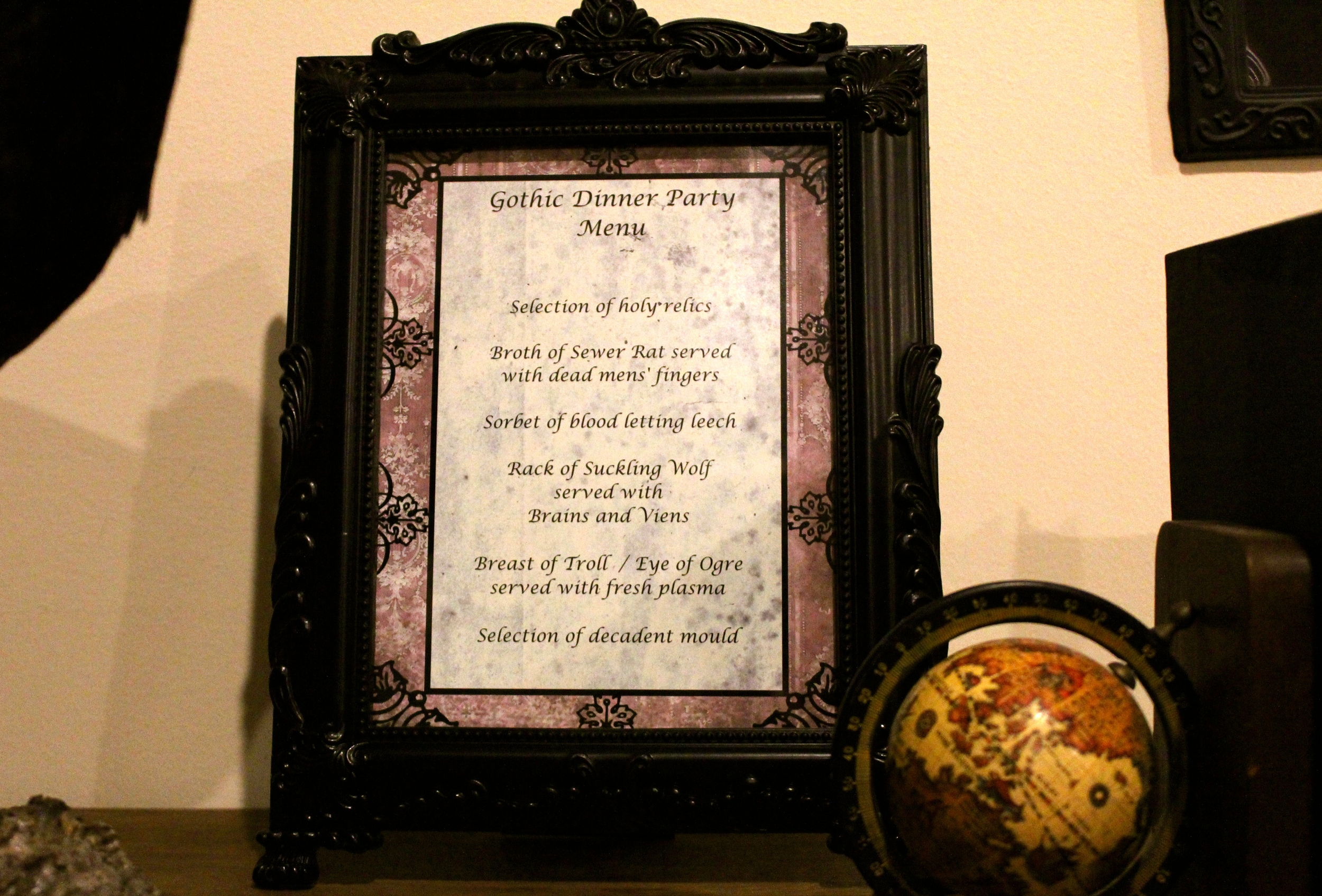 Gothic Dinner Party - Framed Menu