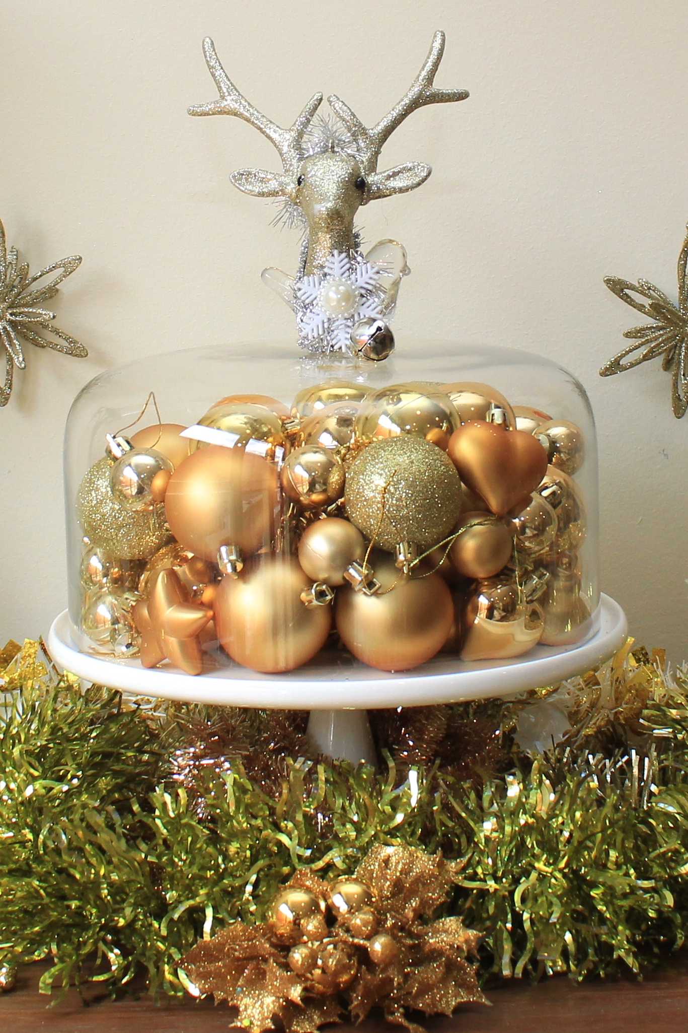 Christmas cake dome with bauble decorations