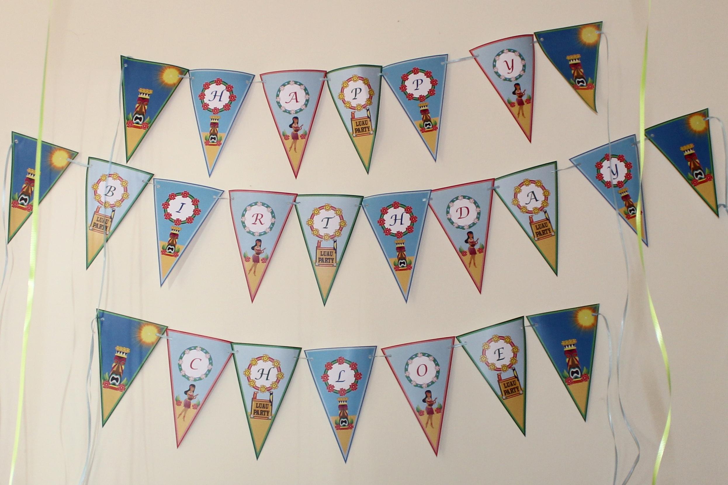Hawaiian Luau Printable Happy Birthday Banner