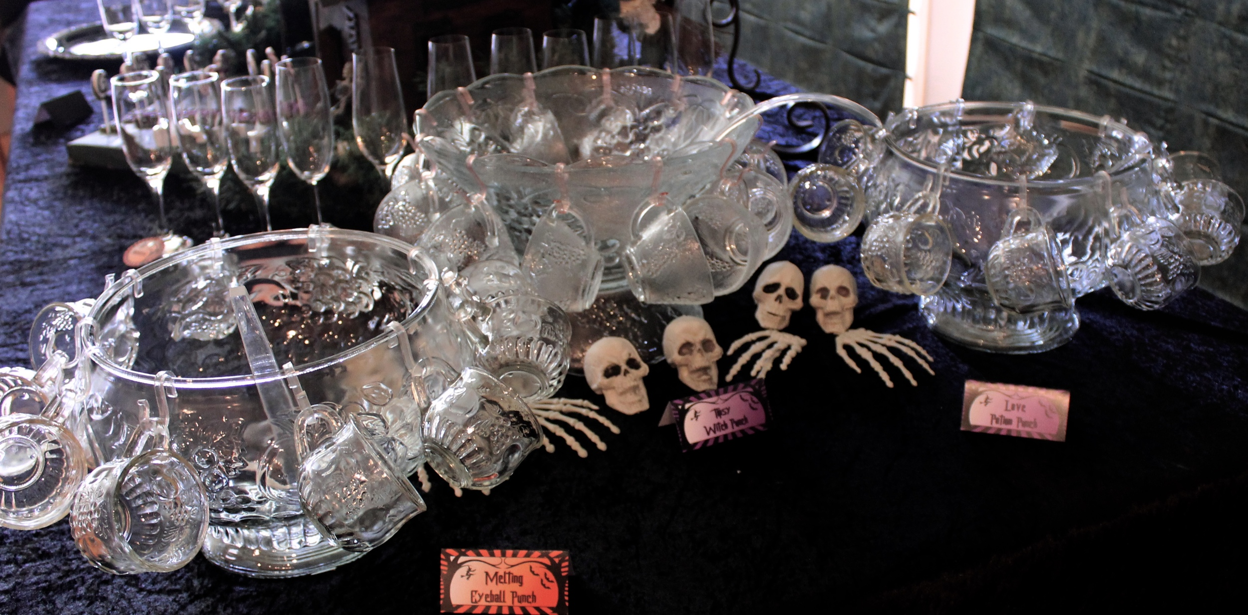 Halloween Punch Bowls with bones