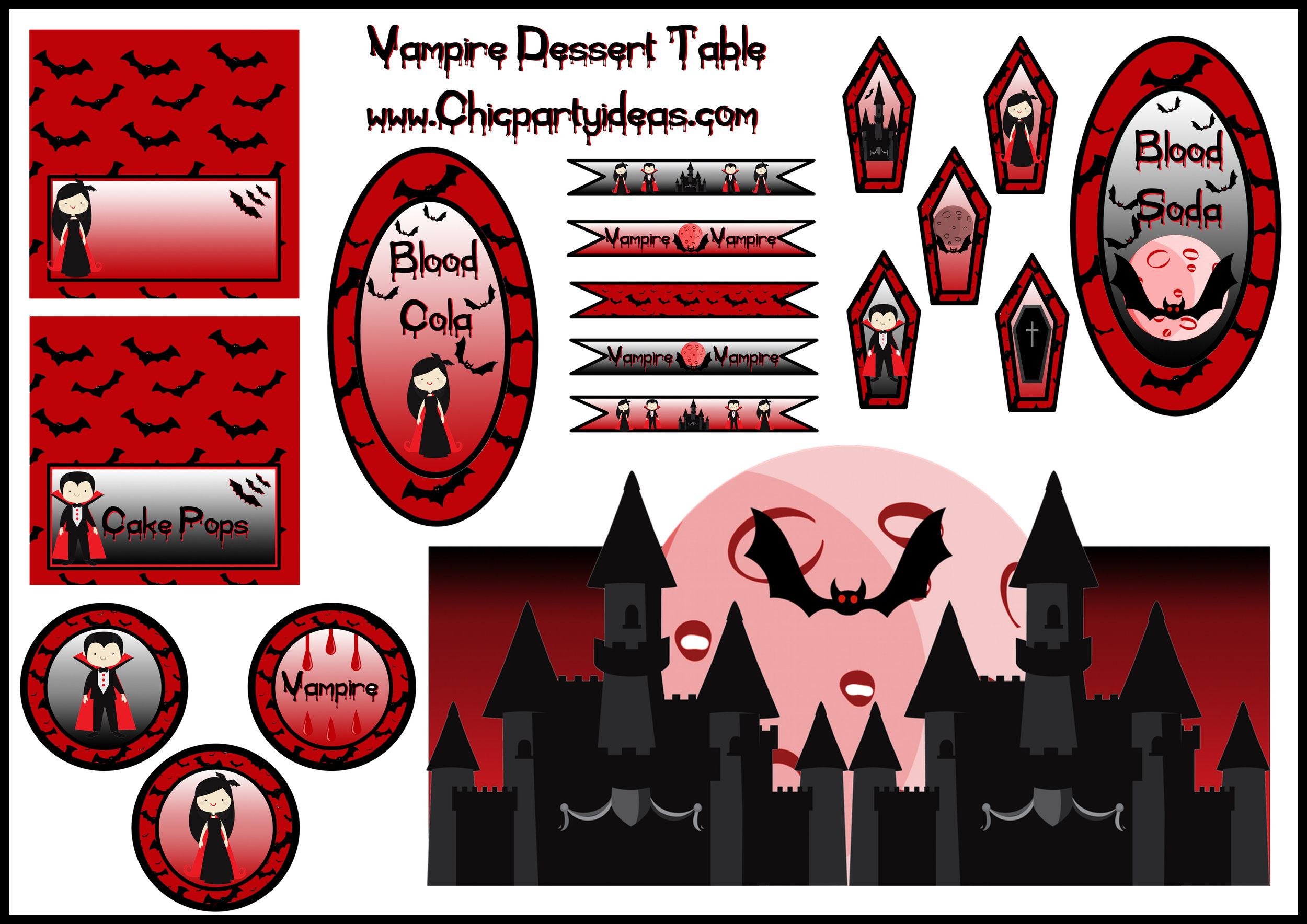 Halloween Vampire party dessert table printable set