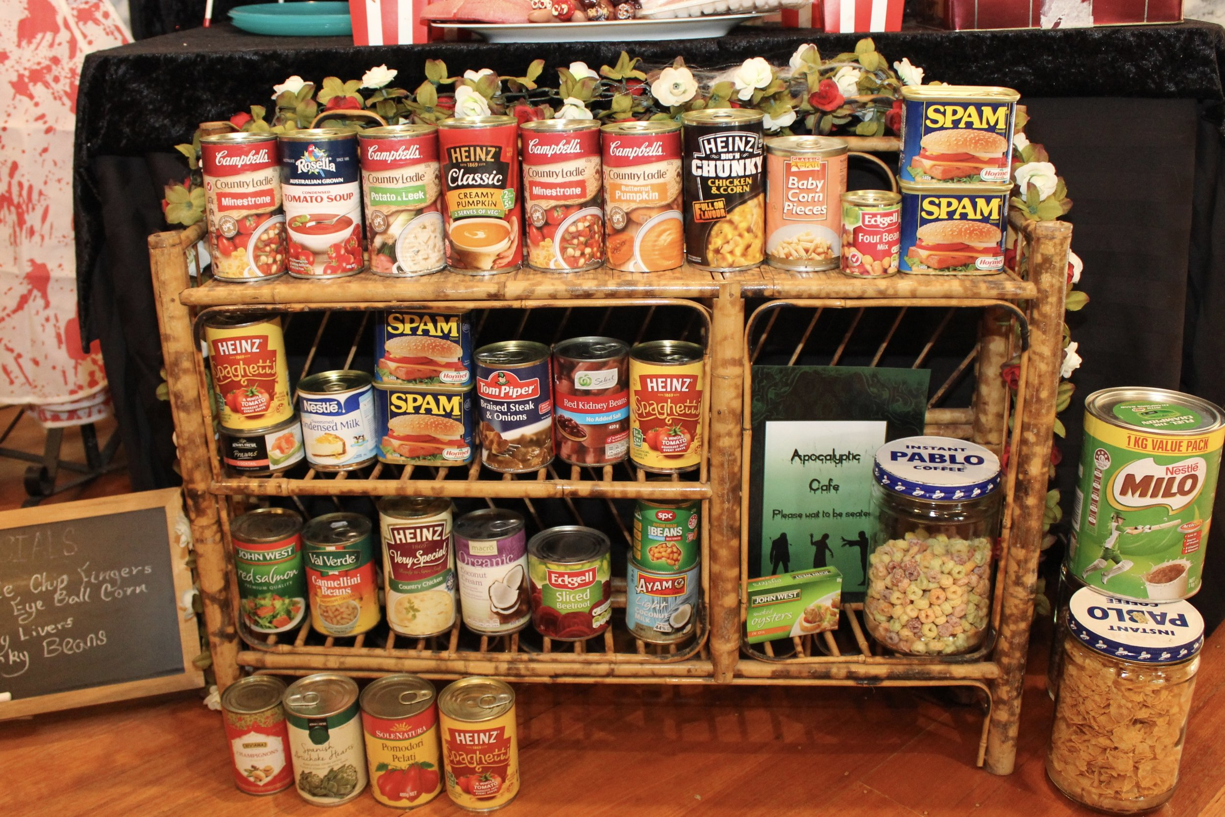 Zombie Apocalypse Cafe with canned foods